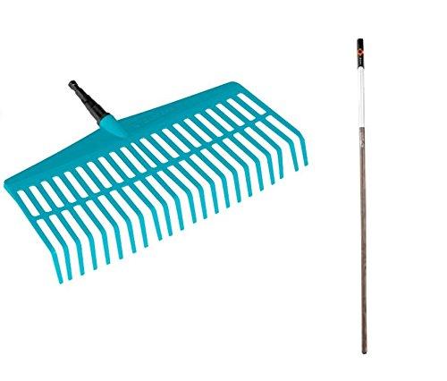GARDENA combisystem-Rechenbesen-Aktion Laubrechen aus hochwertigem Kunststoff rasenschonend Holzstiel aus FSC 100-zertifiziertem Holz Arbeitsbreite 43 cm 3020-23
