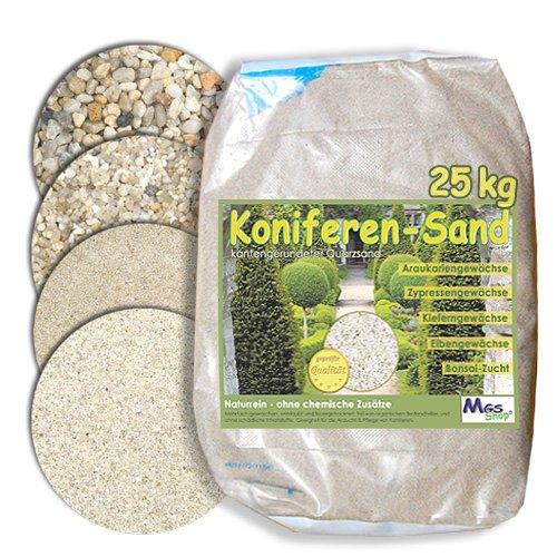 MGS SHOP 25kg Koniferen-Sand Quarzsand für Nadelgehölze - Kiefer Zypresse Eibe Thuje Bonsai kalkfrei 01-03 mm
