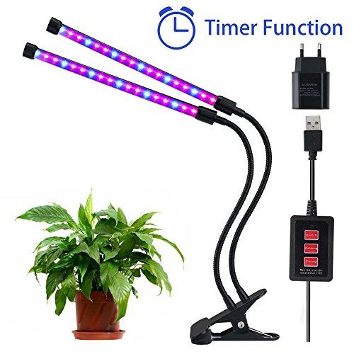 Lovebay 12W 36-LEDs24 Rote12 Blaue Pflanzenlicht Wachstumslampe PflanzenlampeDimmbar 5 Lichtstärkenmit Klemmhalterung3 Modes Timer3H6H12H360° Schwanenhalsfür BüroHausUSB-Adapter