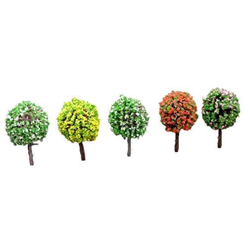 Lumanuby 1 Set Mini Gartendeko Kunstharz Material PVC Werkzeug für Topfpflanzen Dekoration Bäume voller blühender Blumenform Design Mini Gartendeko Größe 3623cm Zufällige Farbe