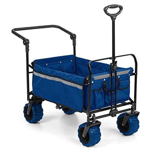 Waldbeck Easy Rider • Bollerwagen • Handwagen • bis 70kg belastbar • robuster und pflegeleichter 600D Polyesterbezug • 2 Sicherheitsgurte für Kinder • Teleskop-  Schubstange • zusammenklappbar • blau