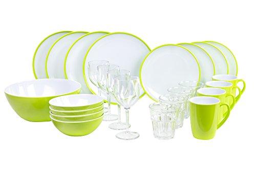 Melamingeschirr-Set Citrus Green Campinggeschirr 4-Personen 25-Teilig von Kampa inklGroßer Salatschüssel und 4X Weingläser 4X Wassergläser