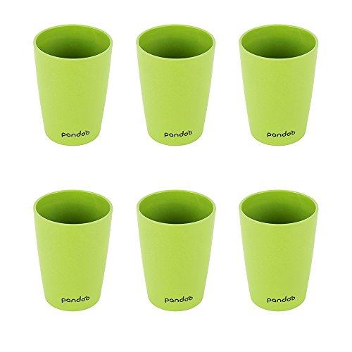 pandoo Bambus Trinkbecher 6er-Set - BPA-frei lebensmittelecht – Picknick Camping Geschirr