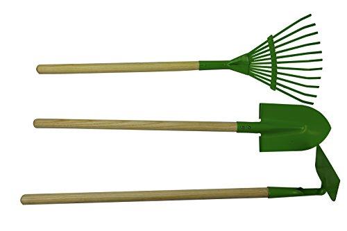 Jardinion Kinder Gartenset mit Hacke Rechen und Spaten mit Holzstäb Länge70cm dreiteilig Kombi Mehrfarbig Hacke Grubber Pflug