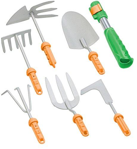 Royal Gardineer Gartengeräte 7-teiliges Garten-Werkzeug-Set mit 6 Wechsel-Aufsätzen und Handgriff Fugenkratzer