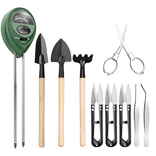 Boden Messgerät mit 9-teiligem Bonsai Werkzeug Pancellent 3-in-1-Feuchtigkeitssensor  Sonnenlicht  pH-Wert einschließlich Gartenschere Faltenschere Mini-Rechen Knospe Trimmer Set