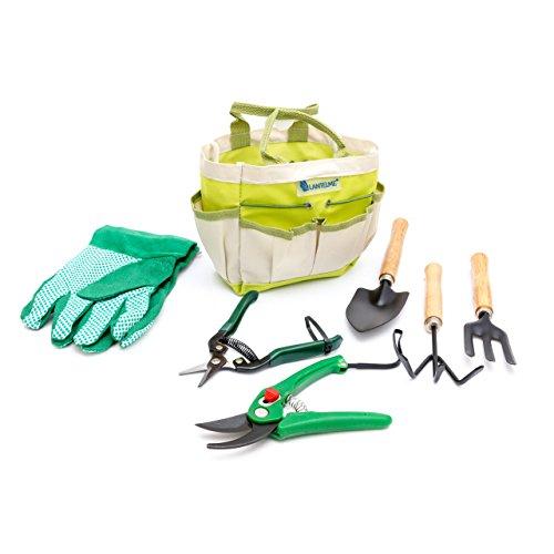 Lantelme PflanzenGarten Werkzeug Set mit Tasche PolyesterMetall  Holz 7-teilig
