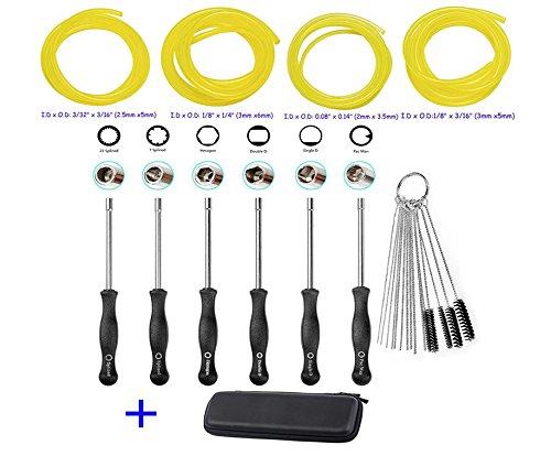oxoxo Carb Nylon Tube Pinsel Set mit Vergaser Anpassung Werkzeug Schraubendreher Kit Fuel Line für Motorsäge STIHL Poulan Husqvarna Rasentrimmer