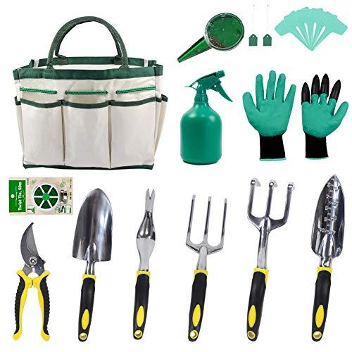 KEAYOO Gartenwerkzeuge Set - 12 in 1 Set mit Rostfrei Gartengräte Tasche Gartenhandschuhe Seed Tasche und Sämann Plant Labels - Ideale Geschenk für Oma