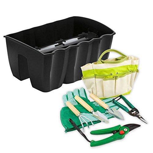 Lantelme Balkonkasten für PflanzenGarten Werkzeug Set mit Tasche PolyesterMetallHolz 8-Teilig