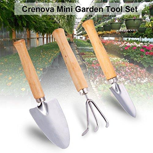 Crenova Mini Gartenwerkzeug Set 3 Stück Edelstahl Heavy Duty Gardening Kit mit massivem Holz Rutschfeste Griff 2 Kellen  1 Rechen Garten Geschenke für Männer und Frauen
