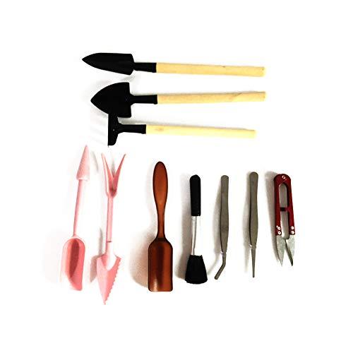 Ouken 10 Stück Sukkulenten Werkzeuge Mini Garten Handwerkzeuge Set Saftige Miniatur Pflanz Umpflanzen Gartenwerkzeug für Innen Miniatur-Fee Garten Pflanzenpflege - Pink