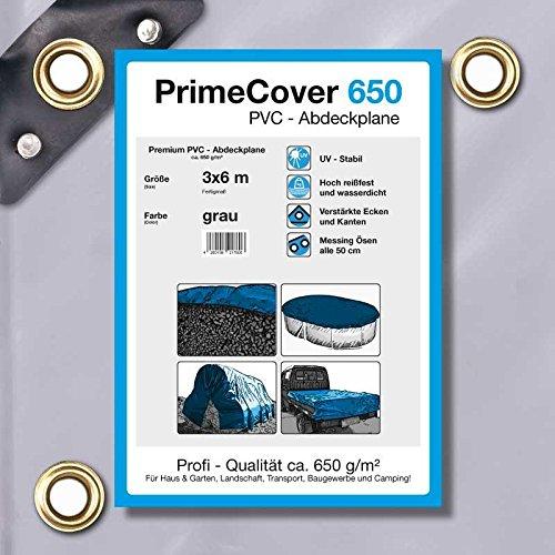 PrimeCover PVC Abdeckplane 650 gm² grau Gewebeplane zur Verwendung als Holzabdeckplane Bootsplane LKWplane oder Schutzplane 3 x 6 mtr