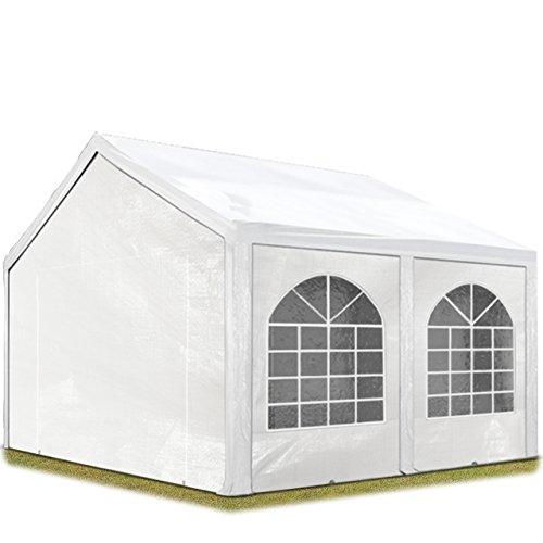 TOOLPORT Hochwertiges Partyzelt 4x5 m Pavillon Zelt 240gm² PE Plane Gartenzelt Festzelt Wasserdicht weiß