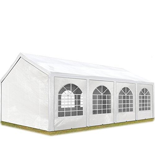 TOOLPORT Hochwertiges Partyzelt 4x8 m Pavillon Zelt 240gm² PE Plane Gartenzelt Festzelt Bierzelt Wasserdicht weiß Modell 2018