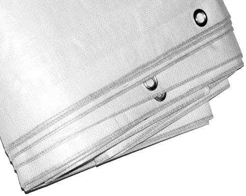 TVV Gewebeplane 180 gm² 2 x 3 m Weiß-transzulent reißfeste Abdeckplane für Flächen und Möbel auch ideal als LKW-Plane und Containerplane für den Transport UV-resistent und wetterfest
