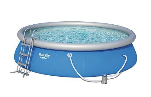 Bestway Fast Set Pool rund mit Kartuschenfilterpumpe Leiter und Boden-& Abdeckplane blau 457 x 107 cm
