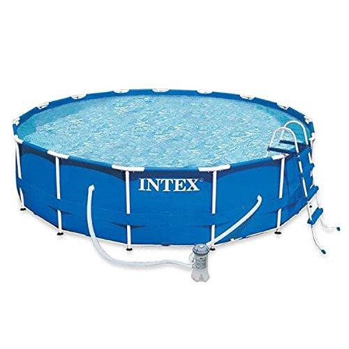 Intex 12-28236 Metall-Frame Pool-Set 457 x 122 cm Kartuschenfilter 3785 Literh Leiter Abdeck- Bodenschutz-plane