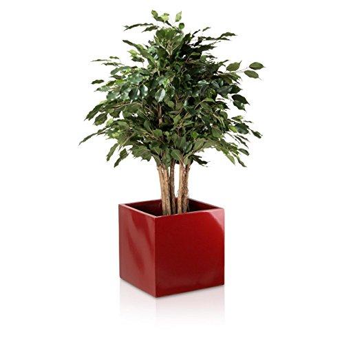 Pflanzkübel Blumenkübel CUBO 40F Fiberglas 40x40x40 cm rot hochglanz