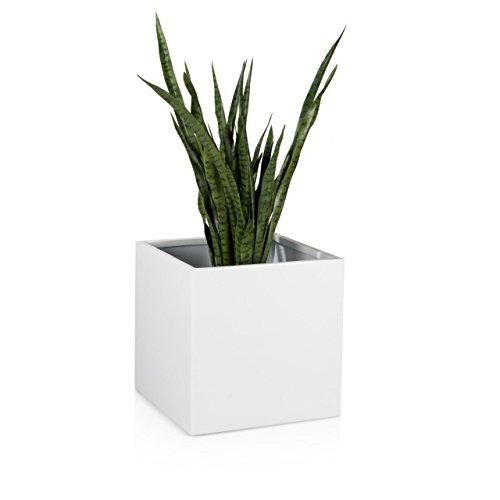 Pflanzkübel Blumenkübel CUBO 50F Fiberglas 50x50x50 cm weiß hochglanz