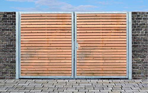 Einfahrtstor Qs Tor Holztor Gartentor Hoftor Verzinkt mit Pfosten Holzfüllung 2-flügelig 300cm x 160cm