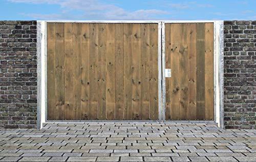 Einfahrtstor Sas Tor Holztor Gartentor Hoftor Verzinkt mit Pfosten Holzfüllung Senkrecht 2-flügelig 450cm x 160cm
