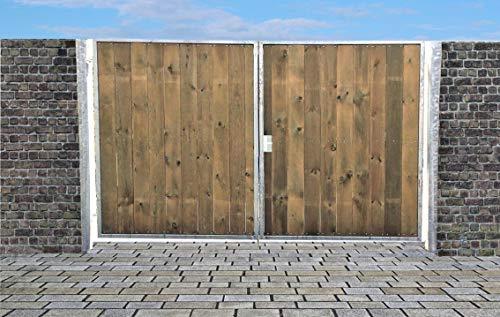 Einfahrtstor Ss Tor Holztor Gartentor Hoftor Verzinkt mit Pfosten Holzfüllung Senkrecht 2-flügelig 350cm x 180cm