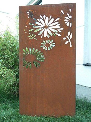 Garten Sichtschutz aus Metall Rost Gartenzaun Gartendeko edelrost Sichtschutzwand 031648-4 150752CM