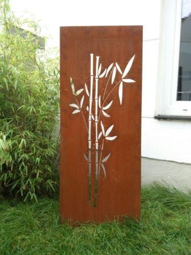 Garten Sichtschutz aus Metall Rost Gartenzaun Gartendeko edelrost Sichtschutzwand 031663-2 125502CM