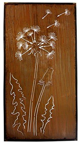 Metallmichl Edelrost Paravent Pusteblume Höhe 200cm Breite 100cm - Löwenzahn Sichtschutz aus Metall