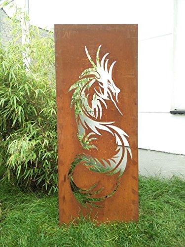 Zen Man Garten Sichtschutz aus Metall Rost Gartenzaun Gartendeko edelrost Sichtschutzwand 031642-2 125502CM