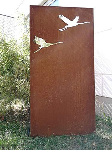Zen Man Garten Sichtschutz aus Metall Rost Gartenzaun Gartendeko edelrost Sichtschutzwand 150  75cm 101551