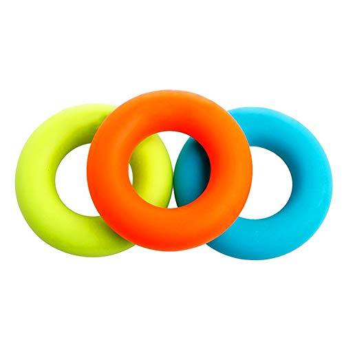 Isuper 3 Stück Handgriff aus Silikon Grip Handring oder Form Gesundheit Kraft in den Fingern die Muskelkraft Formung Übungsring Blau Grün Orange