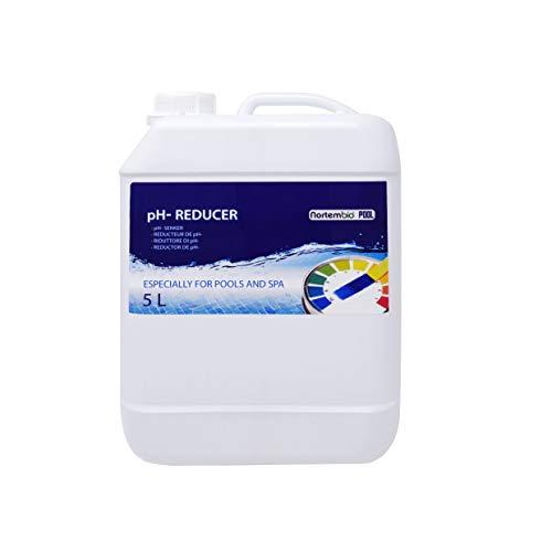 NortemBio Pool pH- Minus 5 L Organischer pH- Senker für Schwimmbad und Spa Erhöhung der Wasserqualität pH-Regulierung Vorteilhaft für die Gesundheit Entwickelt in Deutschland