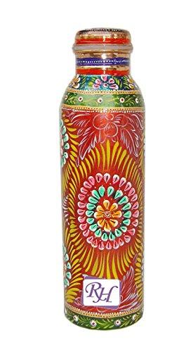 RASTOGI Kunsthandwerk handbemalt Gelenk frei auslaufsicher Flasche aus reinem Kupfer für Ayurveda Gesundheit Benefit nutzbar und waschbar pflegeleicht