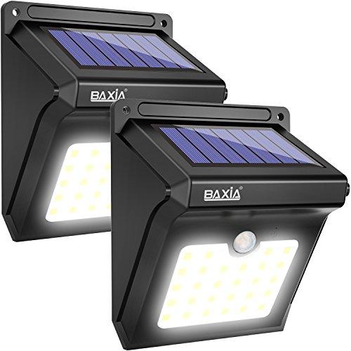 BAXiA Solarlampen für Außen 28 LED Solar Aussenleuchte mit Bewegungssensor Kabelloses Wasserdichte Sicherheitslicht für GärtenTüreFlurWegeTerrassen Patio Zaun Neue Version400 Lumen2-Stück