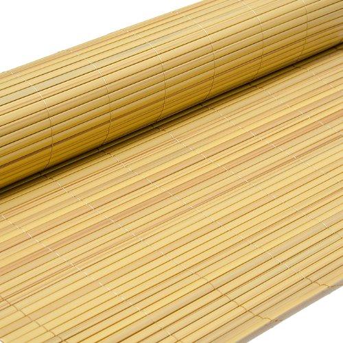 Eyepower PVC Sichtschutzmatte 90x300cm Bambus Windschutz Sichtschutz Doppelstabmatten Gartenzaun Terrasse Zaun