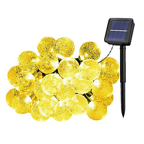 Solarbetriebene Garten Lichterkette 7m mit 50 Kristallkugel LED 8 Modi Außenlichterkette Wasserdicht Partylichterkette für HochzeitFestspieleZaunSonnenschirmTerrasseHaus und Außen Deko Warmweiß