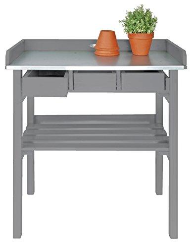 Esschert Design Pflanztisch Holz grau mit Schubladen