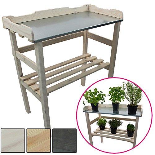 Pflanztisch aus Holz 82 x 78 x 38 cm mit verzinkter Metall-Arbeitsfläche Gartentisch aus FSC zertifiziertem Holz mit Ablagefläche Wetterfest Holzpflanztisch für Garten Balkon und Terrasse FarbeWeiß