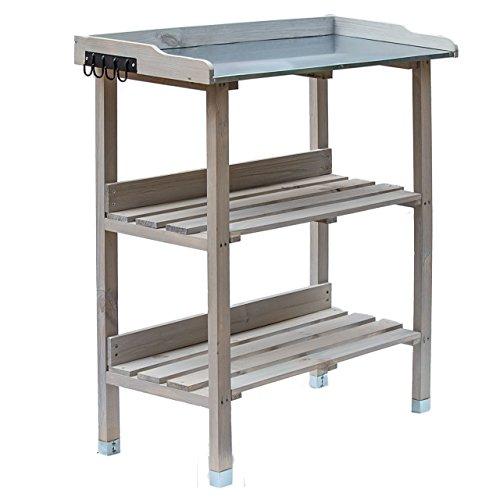 RM Design Holz Pflanztisch 76x38x91 cm für Garten Terasse Balkon mit Zinkplatte Gartentisch 2 Ablagen Wetterfest Pflanzregal lasiert Grau