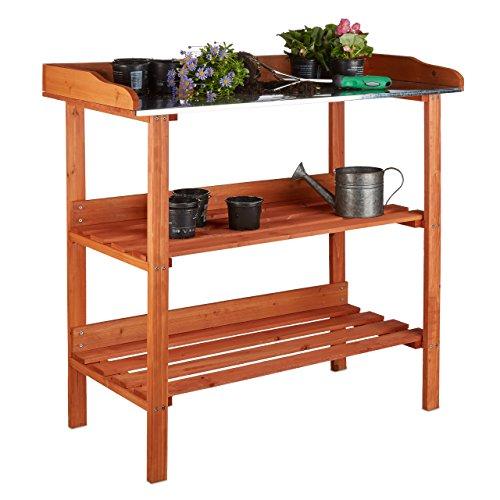 Relaxdays Pflanztisch Holz Metallplatte 3 Ebenen Arbeitsplatte Gewächshaus HBT 875 x 918 x 415 cm orange