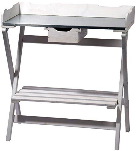 dobar klappbarer Pflanztisch aus Holz mit verzinkter Metall-Arbeitsfläche Gärtnertisch mit praktischer Schublade 80 x 40 x 84 cm weiß