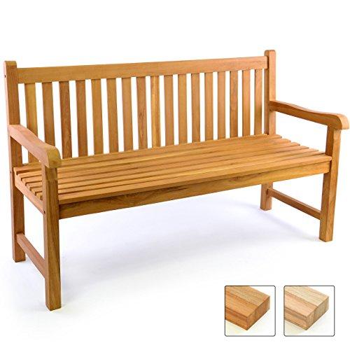 Divero 3-Sitzer Bank Holzbank Gartenbank Sitzbank 150 cm – zertifiziertes Teak-Holz behandelt hochwertig massiv – Reine Handarbeit – Wetterfest Teak behandelt