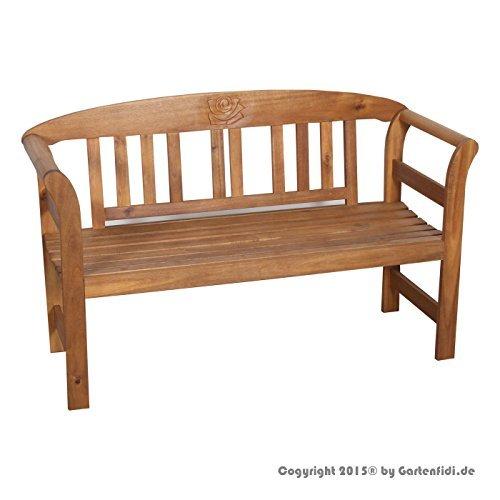 Holzbank Gartenbank mit Ornament 2 Sitzer aus Akazienholz FSC 100