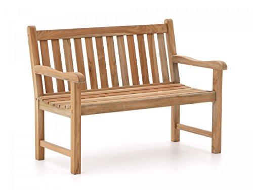 Sunyard Stabile Gartenbank Wales aus massivem unbehandeltem Holz Teakholz 2-Sitzer 120 cm