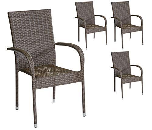 4er Set Armlehnstühle Gartenstühle Stapelstühle in braun mit Armlehnen exkl Auflage stapelbar für Garten Terrasse Balkon oder Bistro - Gartenmöbel Stühle Terrassenstuhl Balkonstuhl Stuhl Gastro