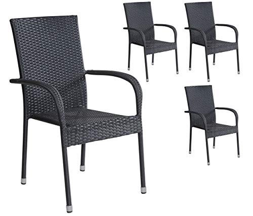 4er Set Stapelstühle Armlehnstühle Gartenstühle in schwarz mit Armlehnen exkl Auflage stapelbar für Garten Terrasse Balkon oder Bistro - Gartenmöbel Stühle Terrassenstuhl Balkonstuhl Stuhl Gastro