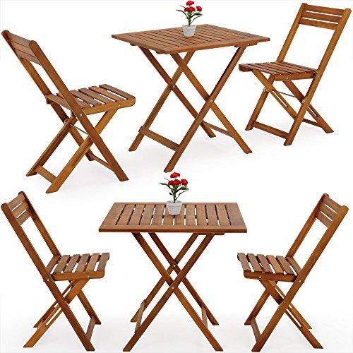 Deuba Gartenmöbel faltbar Bistrotisch mit zwei Stühlen und einem Tisch aus Akazienholz