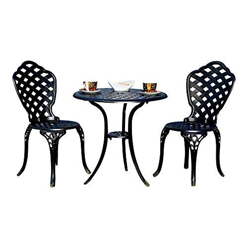 Melko Gartenmöbel Aluminium 3er Set 2 Stühle  Tisch Schwarz Antik Sitzgarnitur Bistro